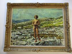 Large Shirl Goedike Painting Female Pretty Woman Model Nude Landscape Listed