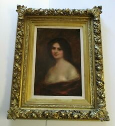 Large Antique Oil Painting Ornate Frame Pretty Woman Female Model Heirloom