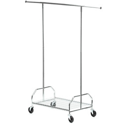 Clothes Rack With Wheels Chrome Steel 59w X 66h X 35.1 D Heavy-duty No Rust