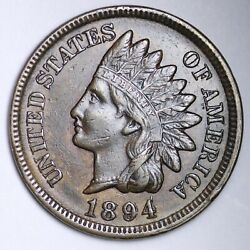 1894/94 Indian Head Small Cent Choice Au Free Shipping E124 Jnam