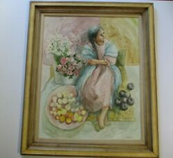 Large Vintage Painting Mexican Or Young Indian Girl Woman Impressionist Signed