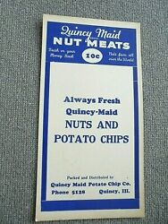 Vintage Quincy Maid Potato Chip Co Nut Meats Advertising Store Sign