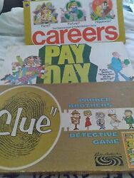 Parker Brothers Vintage Board Games Clue 1960 Payday 1975 Careers 1976