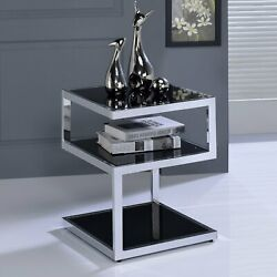 Contemporary Side End Table Spaces Glam Metal Modern Glass Accent Magazine Self