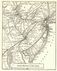 1928 Antique Central Railroad Of New Jersey Map Vintage Railway Map 9152