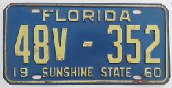 Collectable 1960 Florida License Plate Tag 48v-352 Clay County Light Trailer