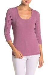 SUSINA Nordstrom Scoop Neck 3 4 Sleeve Ribbed T Shirt size XL made in usa $12.82