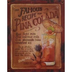 9973795 Advertisement Tin Sign Cocktail Pina Colada Vintage 7/8x9 13/16in