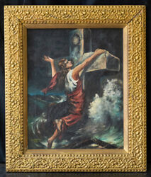 Antique Religious Oil Painting On Canvas
