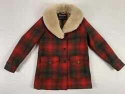 Filson Women's Wool Trapper Coat Size S Color Red/green/dark Brown Plaid Nwt