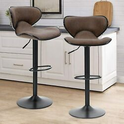 Set Of 2 Bar Stools Adjustable Swivel Bar Chairs Counter Height Pu Leather Chair