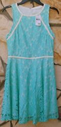 NWT LUSH Lace Fit Flare Mint Green Dress Large Fully Lined NORDSTROM $24.95