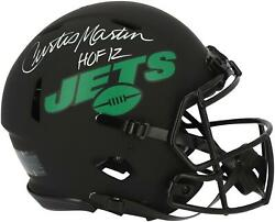 Curtis Martin Ny Jets Signed Eclipse Alternate Authentic Helmet And Hof 12 Insc