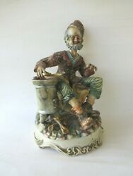Large Capodimonte Figurine Old Man Roasting Chestnuts Seller Italy Hand Signed
