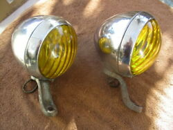 1930and039s Pair Of Chrome Approx. 6 In Arrow Script Fog Lights With Partial Brackets