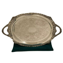 Sheridan Silver Plate Footed Tray 21andrdquo W Handles Vintage Antique Thick Floral Rim