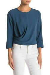 CODE X MODE NORDSTROM Drape Long Sleeve Blouse TEAL Size L $22.27