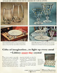 Libbey Royal Fern Every Day Crystal Tempo Goblet Glassware 1956 Magazine Ad