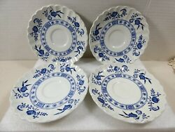 Vtg Jandg Meakin England Classic White Blue Nordic Saucer Ironstone Lot Of 4