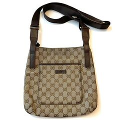 Gucci GG Canvas Shoulder Crossbody Bag Brown Authentic $240.00