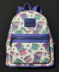 Disney Parks Loungefly Mad Tea Party Cups Alice Un Wonderland Mini Backpack