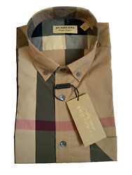Burberry Men#x27;s Long Sleeve Check Casual Sport Fit Stretch Camel Shirt $156.00