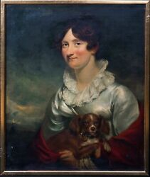 Large 19th Century Portrait Of Lady Macdougall And Her Springer Spaniel Dog