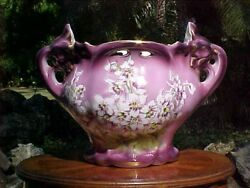 Planter Antique French Majolica Purple White And Yellow Large Jardiniere