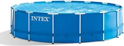 15ft X 48in Metal Frame Above Ground Swimming Pool Set With Pump Cover Ladder