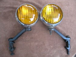 1930and039s Super Rare Pair Of 6 Inch Arrow Script Fog Lights With Brackets Ford