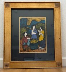 Vintage ARTIST? MODERNISM ABSTRACT EXPRESSIONIST Painting Framed Asian Chinese?