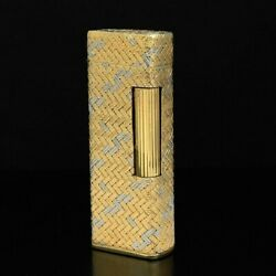 Dunhill Rolla Gas Lighter Au750 Yg Wg Mesh Pattern Outer Jacket 90.1g