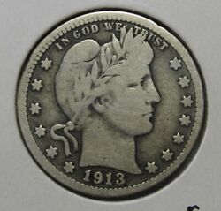 1913 Silver Barber Quarter Grading Vg Nice Uncleaned Coin Priced Right R5