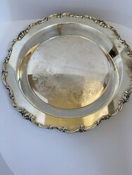 Vintage Lunt Eloquence Round Silver Plate Tray Victorian Floral Footed Plate