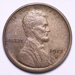 1913-s Lincoln Wheat Cent Penny Choice Bu Free Shipping E713 Xlm