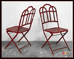 Vintage 40s Architectural Garden Patio Iron Metal Folding Chairs Pair 2 Red