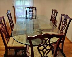 Rare Executive Dining Set With 3/4 Glass Table, 6 Chairs 2 Captains Chairs
