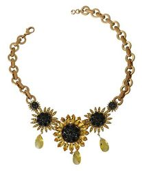 2k Dolce And Gabbana Gold Black Sunflower Crystal Floral Chain Statement Necklace