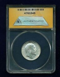England Edward Vii 1906 1 Shilling Silver Coin Certified By Anacs Ms62