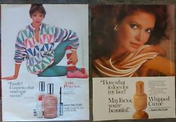 Max Factor Makeup Set Of 2 Vintage Print Ads Featuring Jaclyn Smith From '83and'84