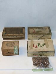 Cigar Boxes Full Of Antique Copper Nails + More. Lot Of 4 Vintage
