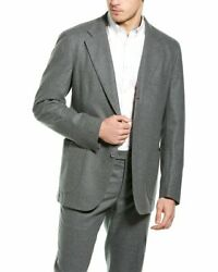 Loro Piana 2pc Wool And Cashmere-blend Suit With Flat Front Pant Men's 58