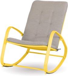 Sophia William Outdoor Rocking Chairs Patio Metal Rocker Chair With Cushion, S