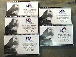 2004-s To 2008-s Us Mint Silver Quarter Proof Sets-5 Silver Coin Sets Complete
