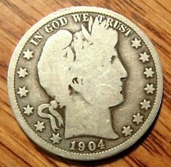 1904-o Barber Silver Half Dollar Nice Full Rims Coin W/natural Uncleaned Patina