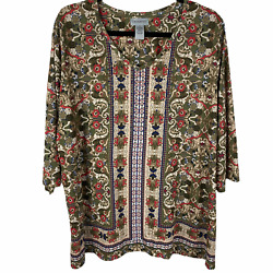 Catherines Knit Top Green Floral Print Size 1x V-neck Studded 3/4 Sleeves