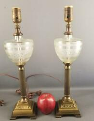 Vintage Pair Of Paul Hanson Co. Ny Cut Glass And Brass Metal Table Lamps Marked