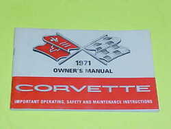 1971 Corvette Original Owners Manual First Edition Booklet W/ Full Card 71 1st