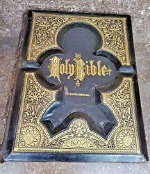 1982 Antique Family Holy Bible Embossed Leather Gold Gilt Illustrated 12.5