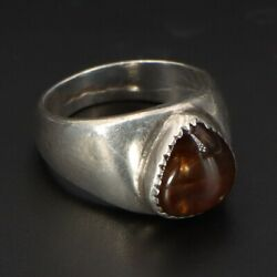 Vtg Sterling Silver - Navajo Chocolate Opal Teardrop Menand039s Ring Size 9 - 10g